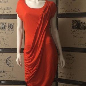 BCBG orange drape front dress